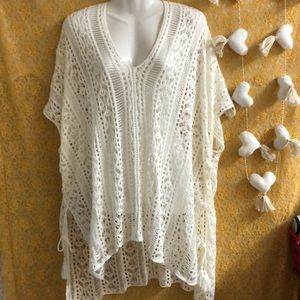 Ivory boho crochet long top sz unknown cover-up